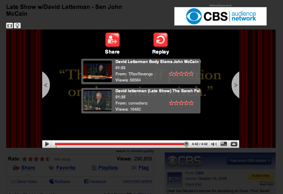 YouTube CBS Letterman McCain Screenshot