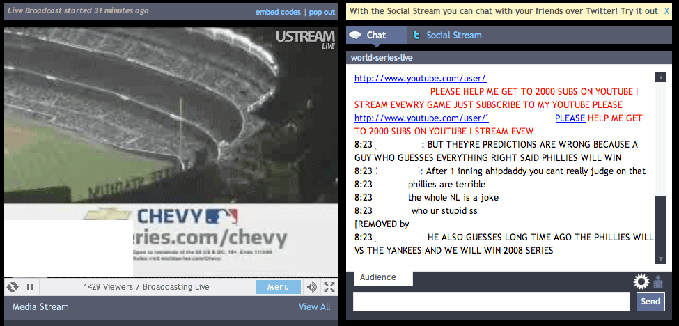 ustream baseball