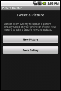 Picture Tweeter Start Screen