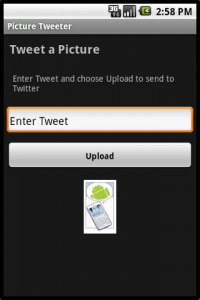 Picture Tweeter Upload Screen